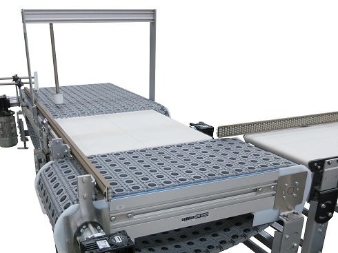 3200 Series conveyor with ARB technology Series 400 45° Chain and Passive Rollers