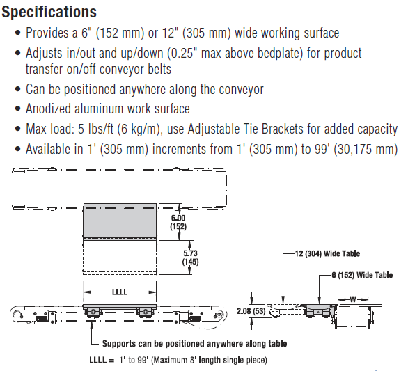 2200 Modular Belt Side Table Specifications