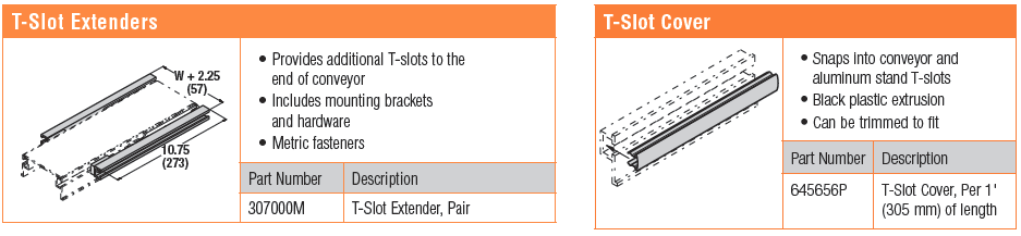 T-Slot Extenders and T-Cover Hardware Accessories