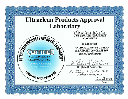 Certificate stating that 3200 series precision move ultraclean is lab certified