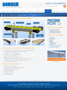 Screenshot of Dorner website 3200 Precision Move Conveyors Information